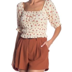 Dress Forum Cream Floral Peasant Crop Top